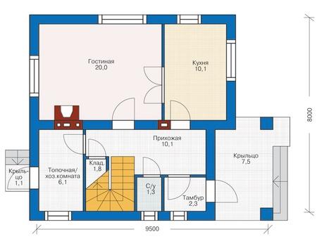 Планировка первого этажа :: Проект дома из газобетона 54-30