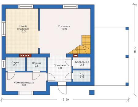 Планировка первого этажа :: Проект дома из газобетона 54-33