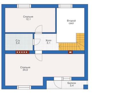 Планировка мансардного этажа :: Проект дома из газобетона 54-33
