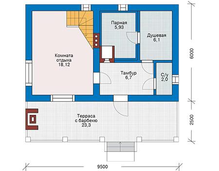 Планировка первого этажа :: Проект дома из газобетона 54-56