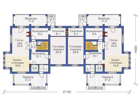 Планировка первого этажа :: Проект дома из газобетона 54-73