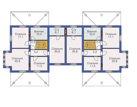 Планировка второго этажа :: Проект дома из газобетона 54-73