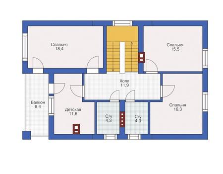 План мансардного этажа :: Проект 54-94