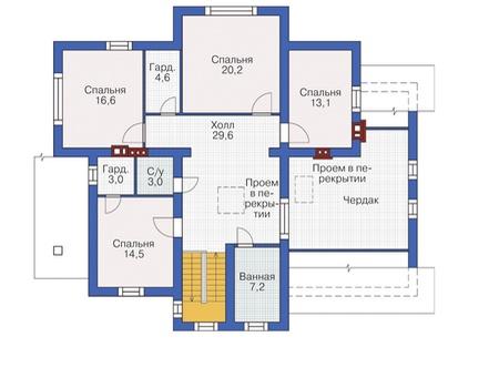 План мансардного этажа :: Проект 54-99
