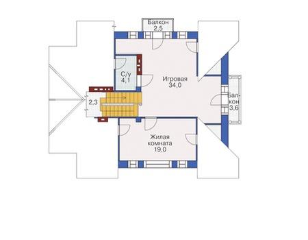 План мансардного этажа :: Проект 55-04