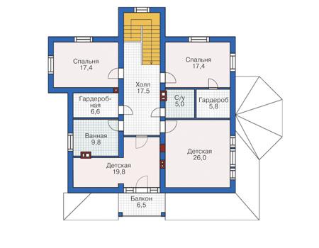 План мансардного этажа :: Проект 55-77