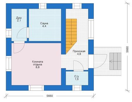 Планировка первого этажа :: Проект дома из газобетона 56-02
