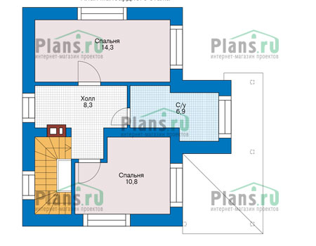 Планировка мансардного этажа :: Проект дома из газобетона 56-13