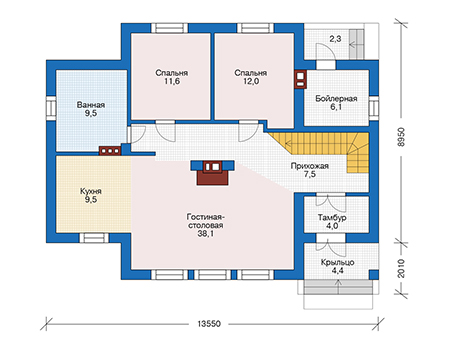 Планировка первого этажа :: Проект дома из газобетона 56-66