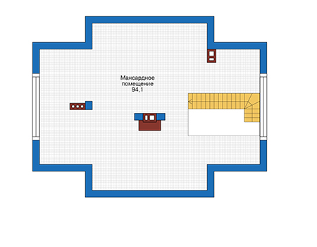 Планировка мансардного этажа :: Проект дома из газобетона 56-66