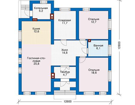 Планировка первого этажа :: Проект дома из газобетона 57-39