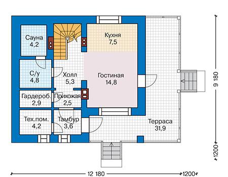 Планировка первого этажа :: Проект дома из газобетона 58-94