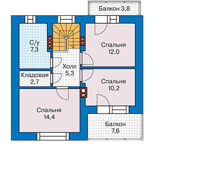 Планировка мансардного этажа :: Проект дома из газобетона 58-94