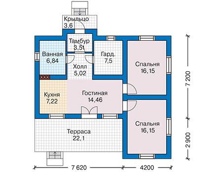 Планировка первого этажа :: Проект дома из газобетона 59-02