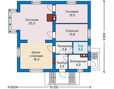 Планировка первого этажа :: Проект дома из газобетона 60-66