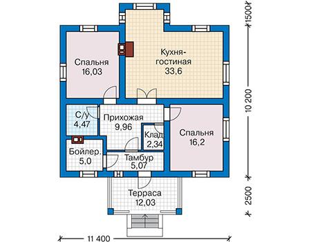 Планировка первого этажа :: Проект дома из газобетона 60-67