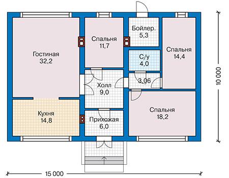 Планировка первого этажа :: Проект дома из газобетона 61-08