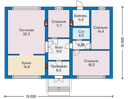 Планировка первого этажа :: Проект дома из газобетона 61-09