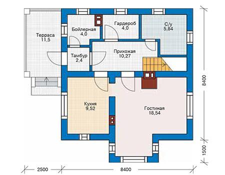 Планировка первого этажа :: Проект дома из газобетона 61-33