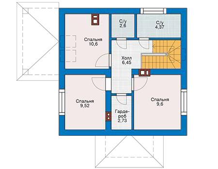 Планировка мансардного этажа :: Проект дома из газобетона 61-33