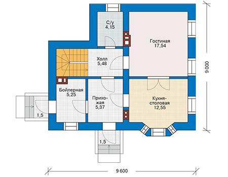 Планировка первого этажа :: Проект дома из газобетона 61-84