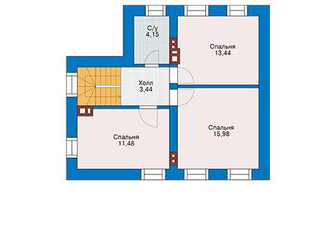 Планировка мансардного этажа :: Проект дома из газобетона 61-84