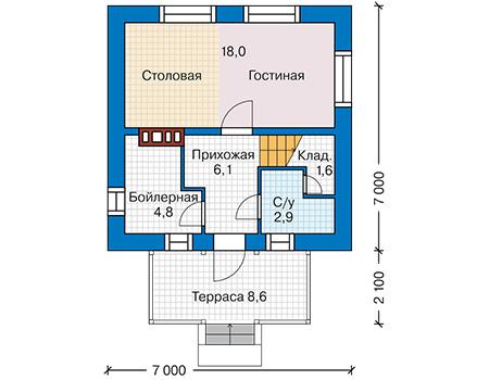 Планировка первого этажа :: Проект дома из газобетона 62-00