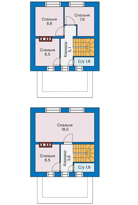 Планировка мансардного этажа :: Проект дома из газобетона 62-00