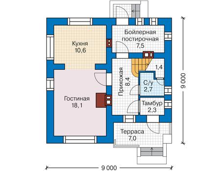 Планировка первого этажа :: Проект дома из газобетона 62-40