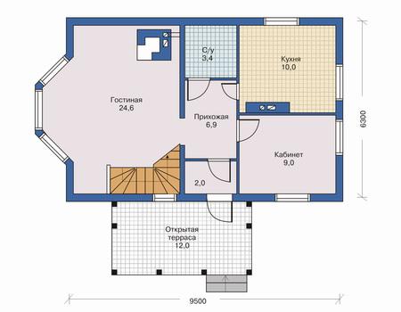 Планировка первого этажа :: Проект каркасного дома 70-05