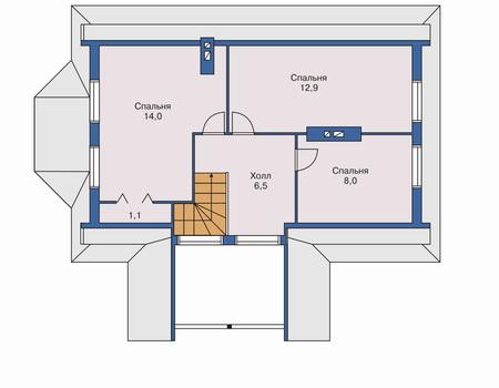 Планировка мансардного этажа :: Проект каркасного дома 70-05
