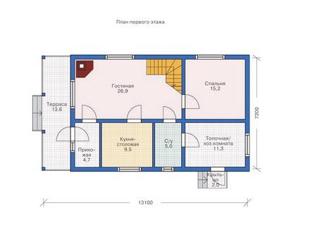 Планировка первого этажа :: Проект деревянного дома 70-19