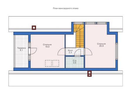 Планировка мансардного этажа :: Проект деревянного дома 70-19