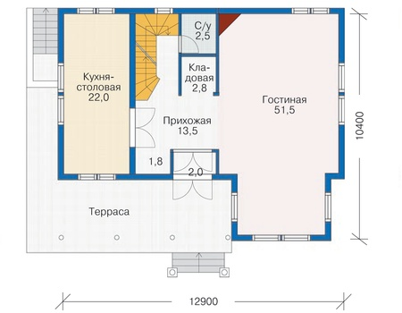 Планировка первого этажа :: Проект каркасного дома 70-20