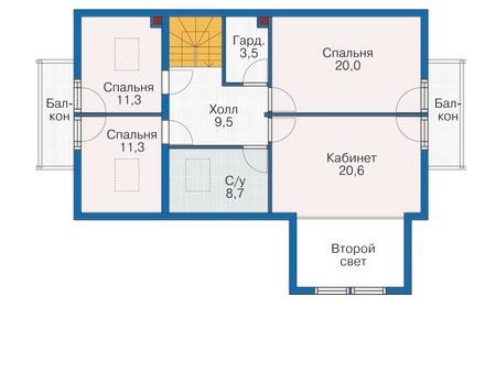 Планировка мансардного этажа :: Проект каркасного дома 70-20