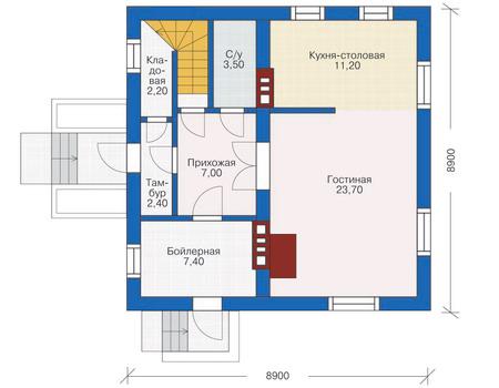 Планировка первого этажа :: Проект дома из кирпича 71-24