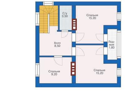 Планировка мансардного этажа :: Проект дома из кирпича 71-24