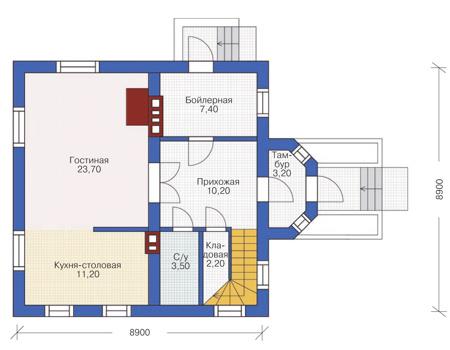 Планировка первого этажа :: Проект дома из кирпича 71-27
