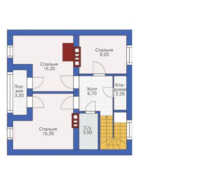 Планировка мансардного этажа :: Проект дома из кирпича 71-27
