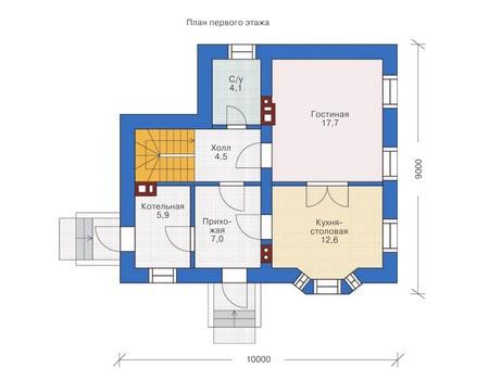 Планировка первого этажа :: Проект дома из кирпича 71-83