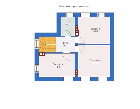 Планировка мансардного этажа :: Проект дома из кирпича 71-83