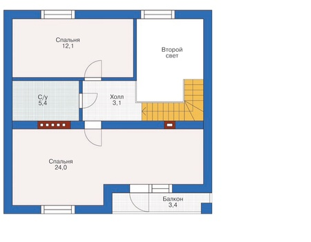 Планировка мансардного этажа :: Проект дома из кирпича 71-89