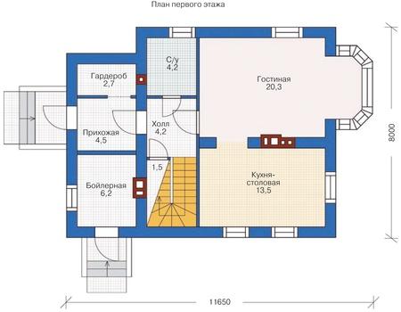 Планировка первого этажа :: Проект дома из кирпича 71-91