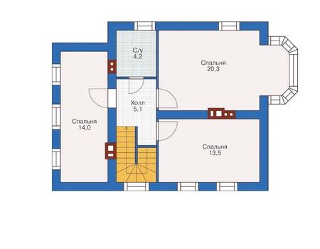 Планировка мансардного этажа :: Проект дома из кирпича 71-91