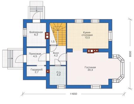 Планировка первого этажа :: Проект дома из кирпича 71-92