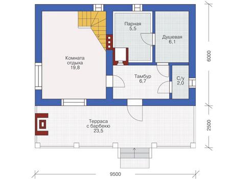 Планировка первого этажа :: Проект дома из кирпича 72-06