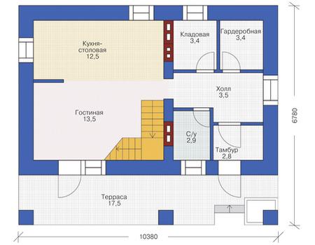 Планировка первого этажа :: Проект дома из кирпича 72-12