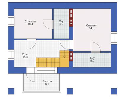 Планировка мансардного этажа :: Проект дома из кирпича 72-12
