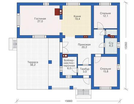 Планировка первого этажа :: Проект дома из кирпича 72-51