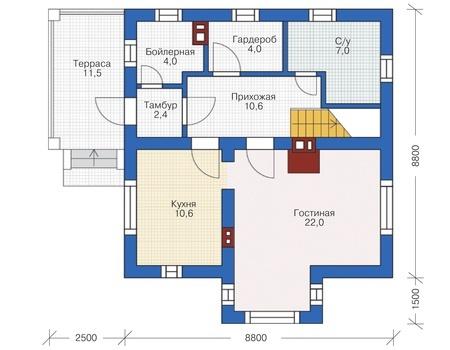 Планировка первого этажа :: Проект дома из кирпича 72-61